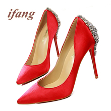 Ifang Kristall Schuhe Frau 2016 Frauen rote untere Braut High Heels Party pumps Strass Pumpen Frauen Hochzeit Pumpen Victoria