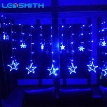 2.5 m conduziu a luz de natal ac220v romântico fada da ue cortina led luzes da corda estrela para o feriado casamento guirlanda festa decoração