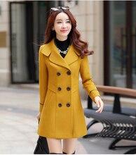 2018 nuevas mujeres Otoño Invierno prendas de abrigo de lana mezcla abrigo largo Delgado Fit solapa de lana abrigo de Cachemira Mujer talla grande