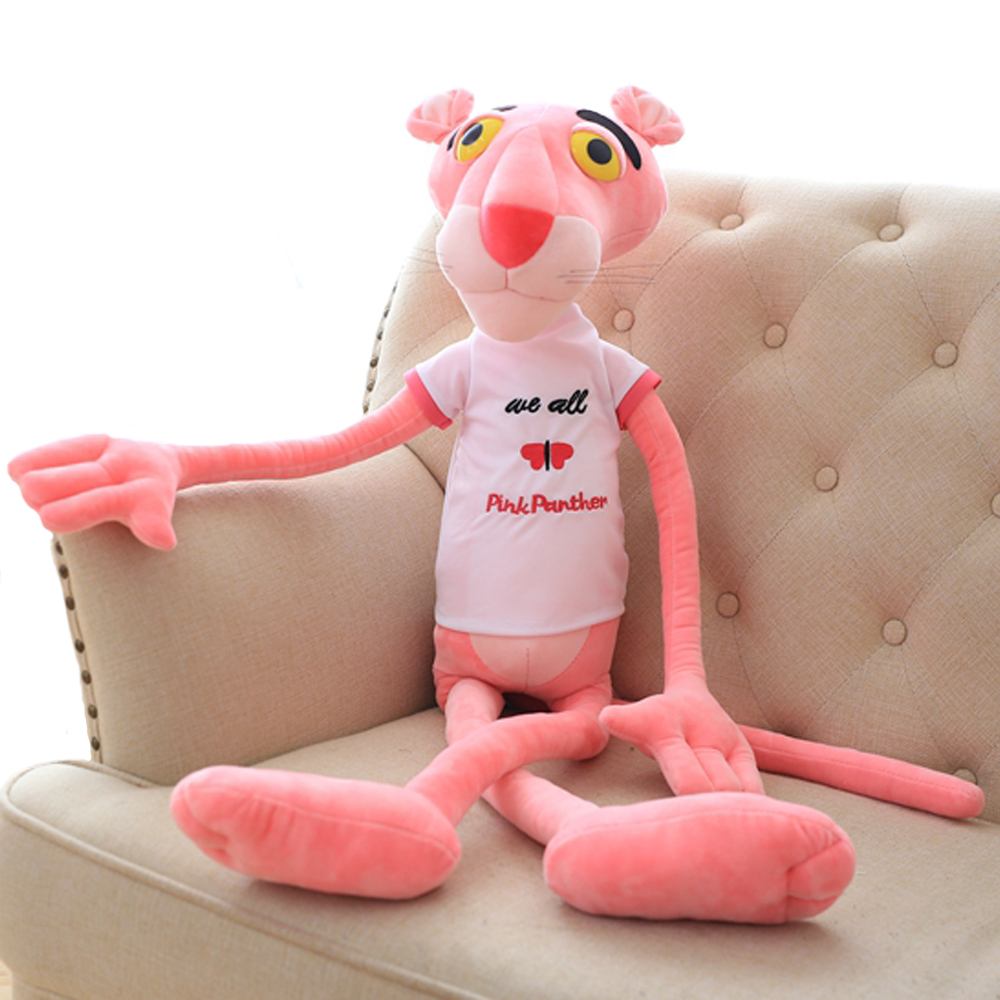 1pc 55/80cm kawaii Shin Leopard Pink Panther T-shirt plush toy stuffed soft animal dolls so cute children birhtday gift