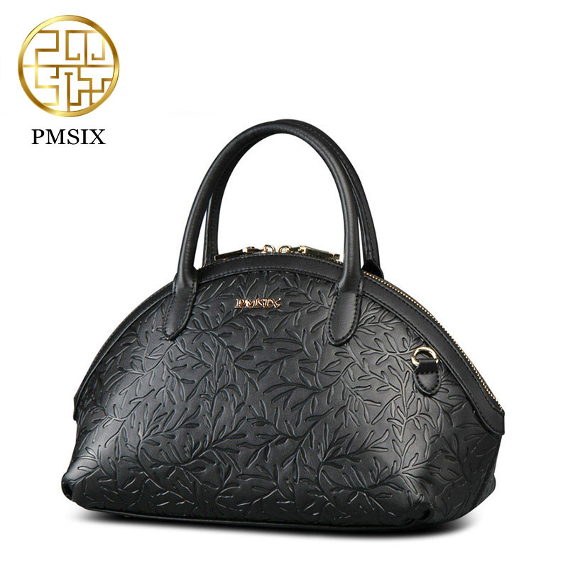 цена на Pmsix Brand Women Split Leather Shoulder Bag Ladies Handbag Female Luxury Bags Women's Fashion Black Leather Bags Tote For Women