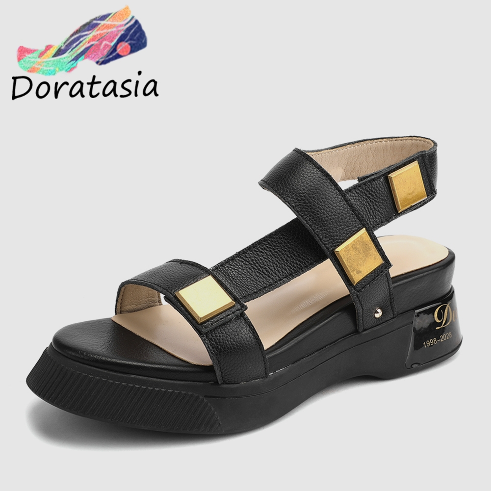 DORATASIA New Fashion 2019 Cow Leather Platform hook&loop Summer Sandals Women Shoes Casual Shoes Woman Sandals FemaleDORATASIA New Fashion 2019 Cow Leather Platform hook&loop Summer Sandals Women Shoes Casual Shoes Woman Sandals Female
