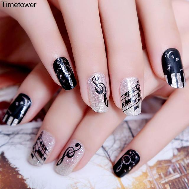 Timetower original design nail art stickers fingertips melody timetower original design nail art stickers fingertips melody music symbol pattern ultrathin nail decals french manicure prinsesfo Images