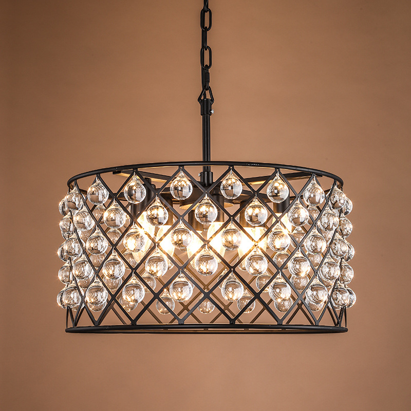 American country Crystal Pendant Lights Retro industrial style restaurant crystal lamp Nordic round living room lamps  lanterns retro country pendant lights loft vintage lamp restaurant bedroom dining room pendant lamps american style for living room
