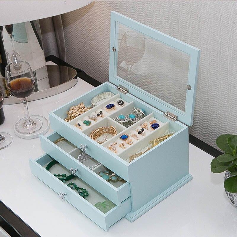 Для женщин для хранения ювелирных изделий Организатор ящики Box Путешествия Косметическая чехол и зеркало кожа Свадебные украшения подарок
