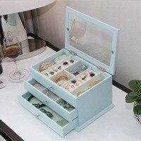 Женский органайзер для хранения ювелирных изделий ящики коробка дорожный косметический футляр для косметики и зеркало Кожаное украшение д