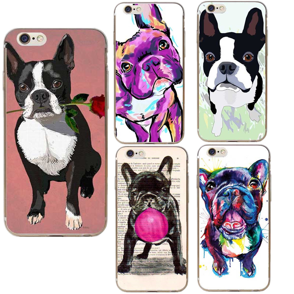 Boston Terrier Watercolor Hard Cover For Iphone 5 5s Se 6 6s Plus 7 7plus 8 8plus Bulldog Phone Case For Iphone X Cellphones & Telecommunications