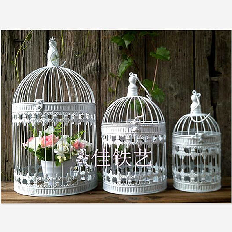 European style decorative bird cage / window ornaments /  black, white, bronze,  gold photography props / hotel wedding cage