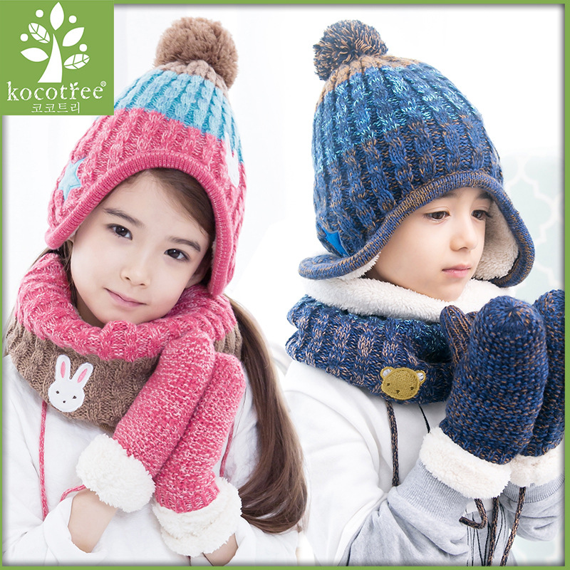 Kocotree 2 to 10 years old 3 Pieces Winter Children Knit Hat Scarf Mitten  Set Crochet f15540a01d60