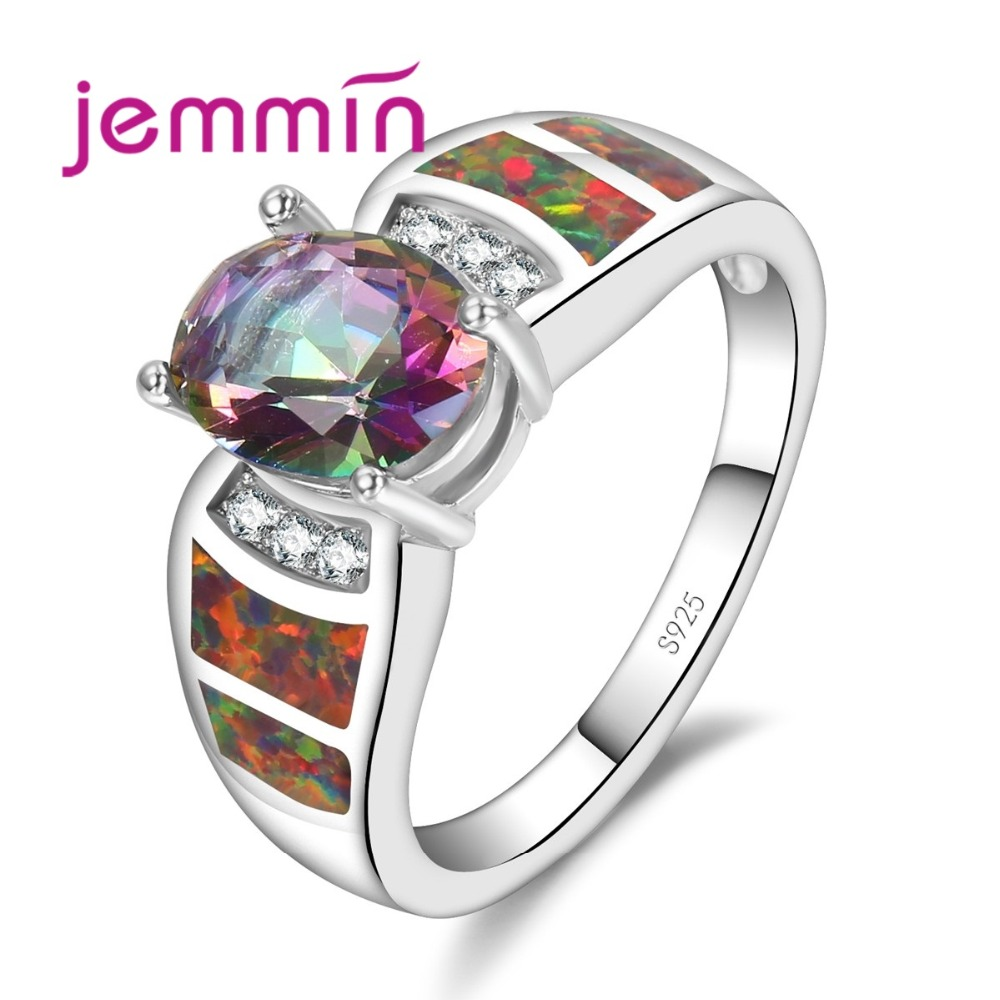 Luxury Red Fire Opal Rainbow Crystal Rings For Women Fine Bridal - Fine Jewelry