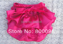 Updated Designs for Kids Clothing Rose Red Bow Solid Baby rompers Satin Bloomers KP-SB033