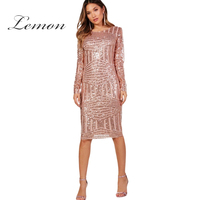 Lemon Sequins Dress Bodycon Sexy Vestidos Female Long Sleeve Fitness Dresses Hollow Out Backless Clothing 2018 New