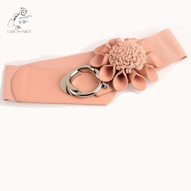 Directo de fábrica de 2016 Nuevo de La Manera Accesorios de la Aleación de La Flor Salvaje Cinturones Para Las Mujeres Amplia Vestidos Correa de Cuero Elástico de Wasit Q68