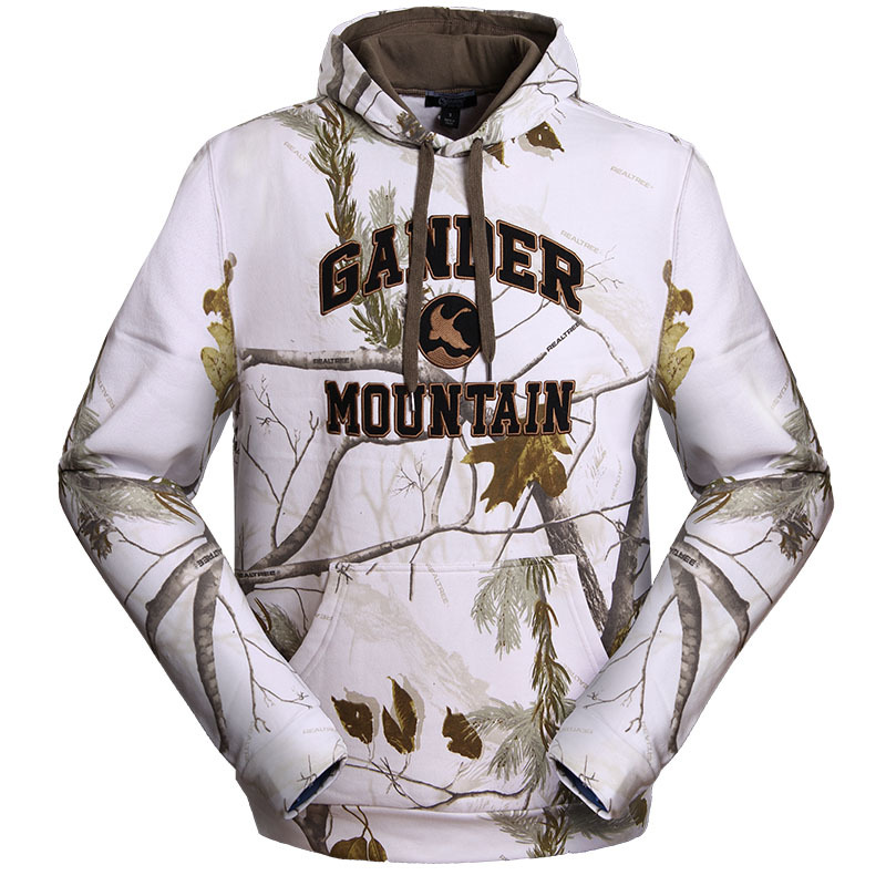 Autumn and winter hooded pullover sweatshirt cotton plus thick velvet bionic camouflage hunting clothing sweater realtree 5 mode windproof realtree camouflage suits wild hunting clothing oem vision