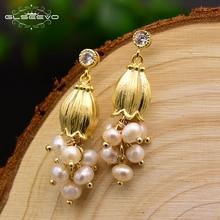 XlentAg Natural Fresh Pearl Tassel Dangle Earrings For Women Flower Plant Handmade Drop Luxury Jewelry Wholesale GE0300