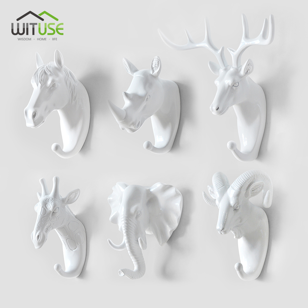 LivingRoom Decor 3D Antlers Horse Elephant Hooks Household Decorative Animal Style Wall Coat Keys Bags Clothes Storage Hooks