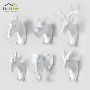 Oturma odası dekor 3D boynuzları at fil kanca ev dekoratif hayvan tarzı duvar kaplaması tuşları çanta giysi saklama kanca