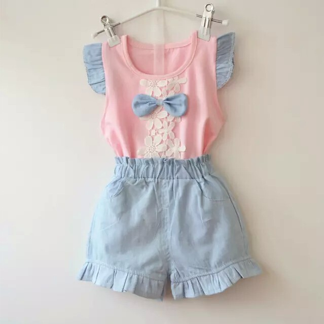 2016-new-fashion-baby-girls-summer-clothing-sets-kids-outfits-suit-children-flower-bow-T-shirt