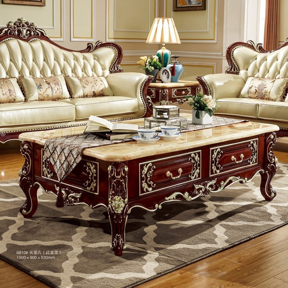 antique solid wood sofa center table for luxury european style furniture set from brand procare