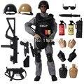 16 UNIDS/SET Fuerza Especial Militar Soldado Figura de Acción Muñecas Soldado SWAT Con Rifle Accesorios Sistema de Super Kids Regalos Juguetes # E