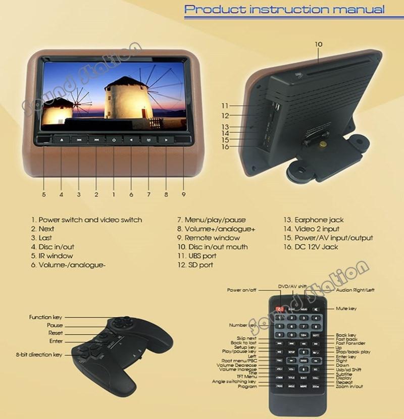 2 Pcs X 9 Inch Cheap Active Headrest Monitor Car Dvd