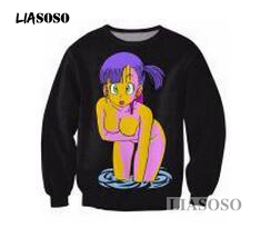 Image 2 - LIASOSO Anime Dragon ball Z Sweatshirt vibrant jumper Anime Characters Sexy bulma 3d print Women Men black/green Sweats T3340-in Hoodies & Sweatshirts from Men's Clothing