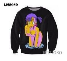 Image 2 - LIASOSO Dragon Ball Z bluza 3D drukuj dziewczyna Anime Sexy Loli Bulma bluza Z długim rękawem kobiety mężczyźni czarny Hentai bluzy T3340