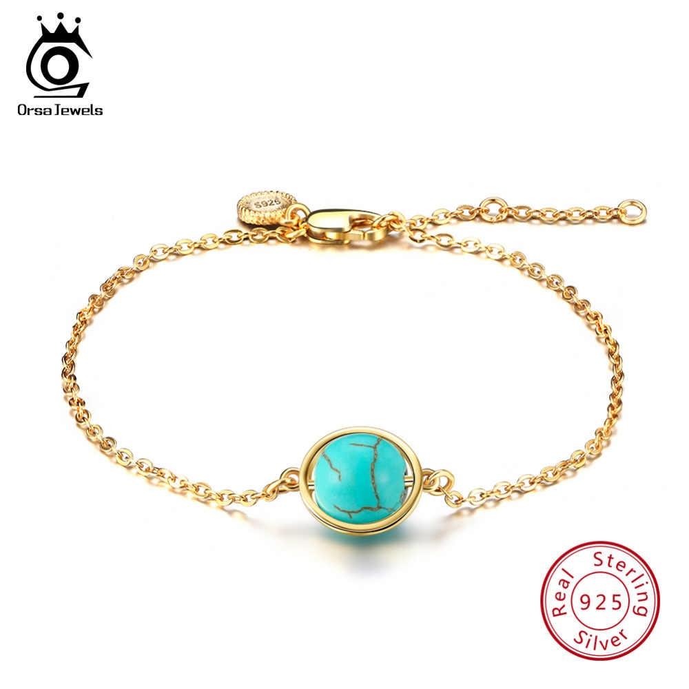 ORSA JEWELS Real 925 Sterling Silver Women Bracelets 4 Natural Stone Silver and Gold-color Options Fashion Female Jewelry SB21