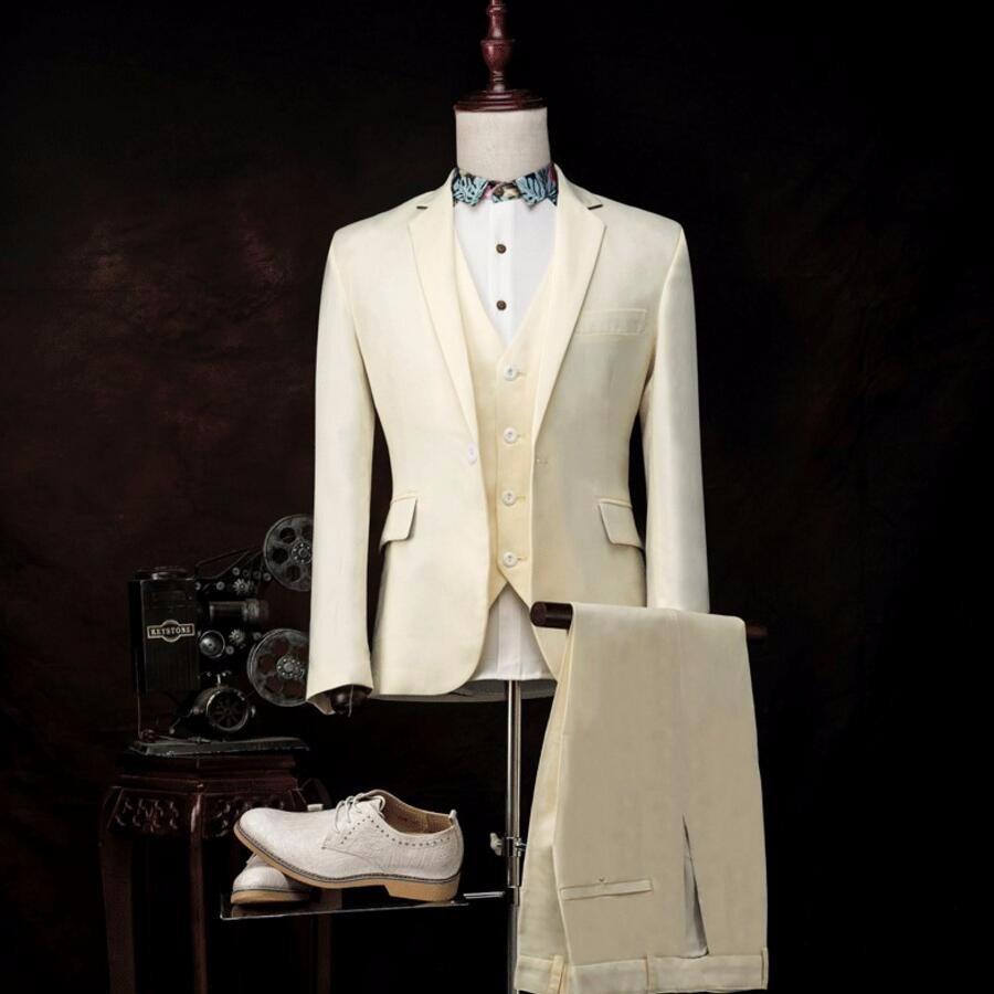 21.1 Fashion custom Men Suits Jacket Pants Vest three-Piece Slim fit Beige Prom Wedding Groom Singer Stage Clothing