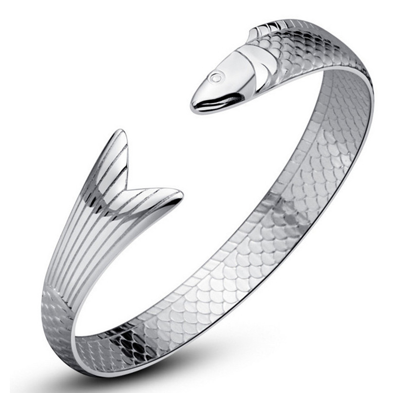 New Arrival Delicate 925 Sterling Silver Jewelry Lucky Fish Bracelet Bangle for Women Open Bangle