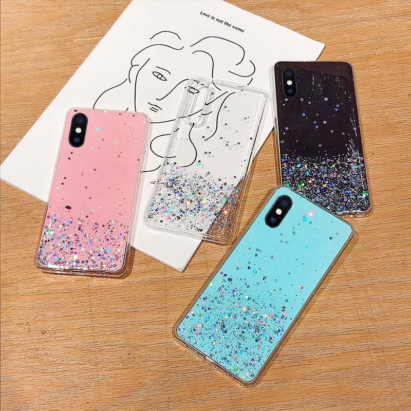 Epoxy Star Transparent Case For iphone X XR XS MAX 10 Soft TPU Cover Fashion Glitter Bling Sequins Case For iphone 8 7 Plus 6s