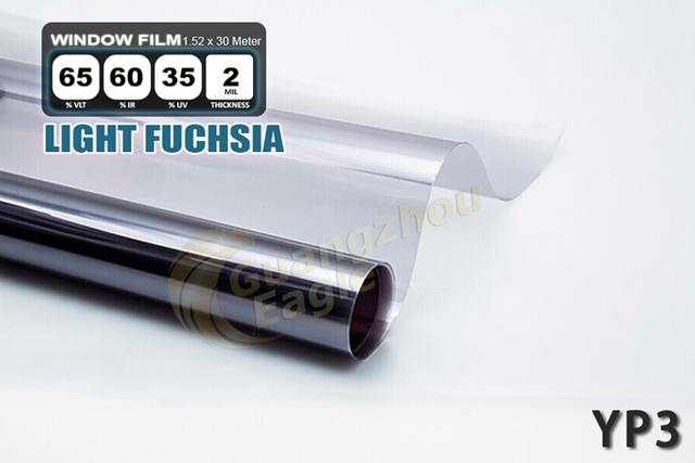 1.52*30m High-performance PET Car Solar Window Tint Film window Foil Free Shipping / Light Fuchsia/ YP-3