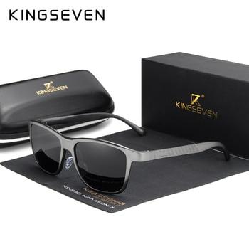 Мужские солнцезащитные очки в квадратной алюминиевой оправе KINGSEVEN