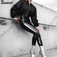 Bevenccel 2018 جديد وصول الأسود الأحمر الوردي المرأة مثير الصلبة bodycon بو السراويل الجلدية المشاهير حزب عارضة بانت الساخن بيع