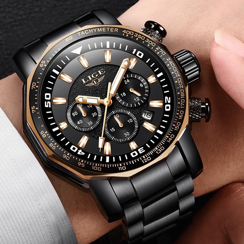 Relojes Hombre 2018 LIGE Fashion Mens Watches Luxury Brand Business Quartz Watch Men Sport Waterproof Multifunction Chronograph