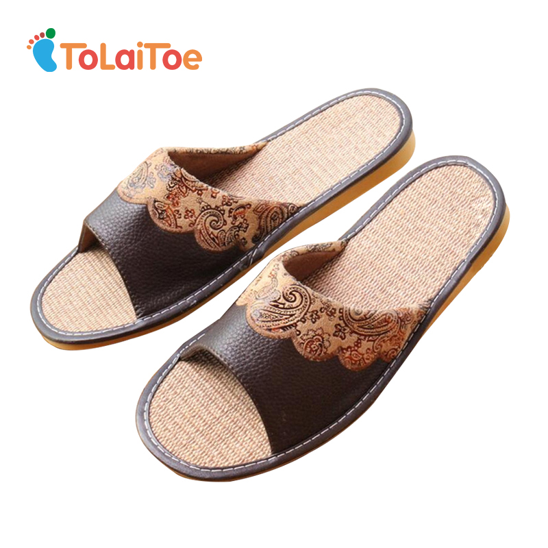 ToLaiToe Men/Women Summer Linen Cool Brown Cow Leather Slipper Genuine Embroidered Sweat Indoor Cow Muscle Tendon Slipper Shoes cool cow leather star cover book style pendant necklace brown