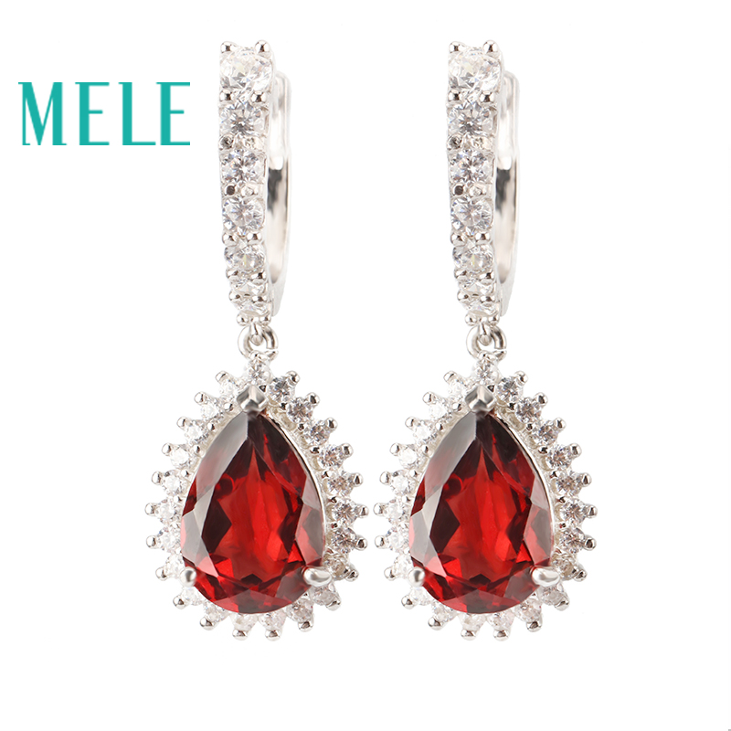 MELE Natural red garnet sterling silver 925 earring for women, pears chape,Trendy and fashion jewelry with top quality