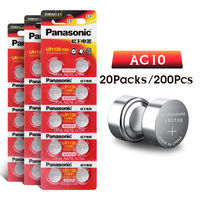 200pcs/lot Panasonic battery 1.5V AG10 LR1130 Alkaline Button Coin Cell Battery AG10 389 LR54 SR54 SR1130W 189 LR1130