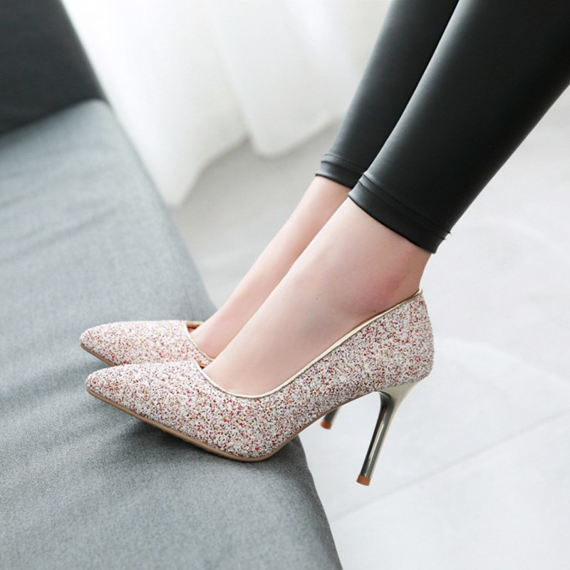 Plus Size 34 48 New fashion Women Fashion Thin High heeled Shallow Mouth Singles Shoes Glitter Bling Party Pumps Ladies Stiletto in Women 39 s Pumps from Shoes