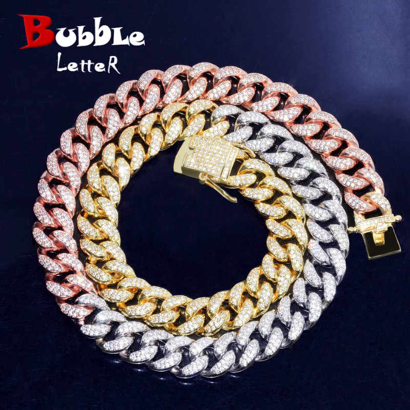 52c88954bf639 12mm Iced Mixed Color Cuban Necklace Chain Hip hop Jewelry Gold Silver  Copper Material CZ Clasp