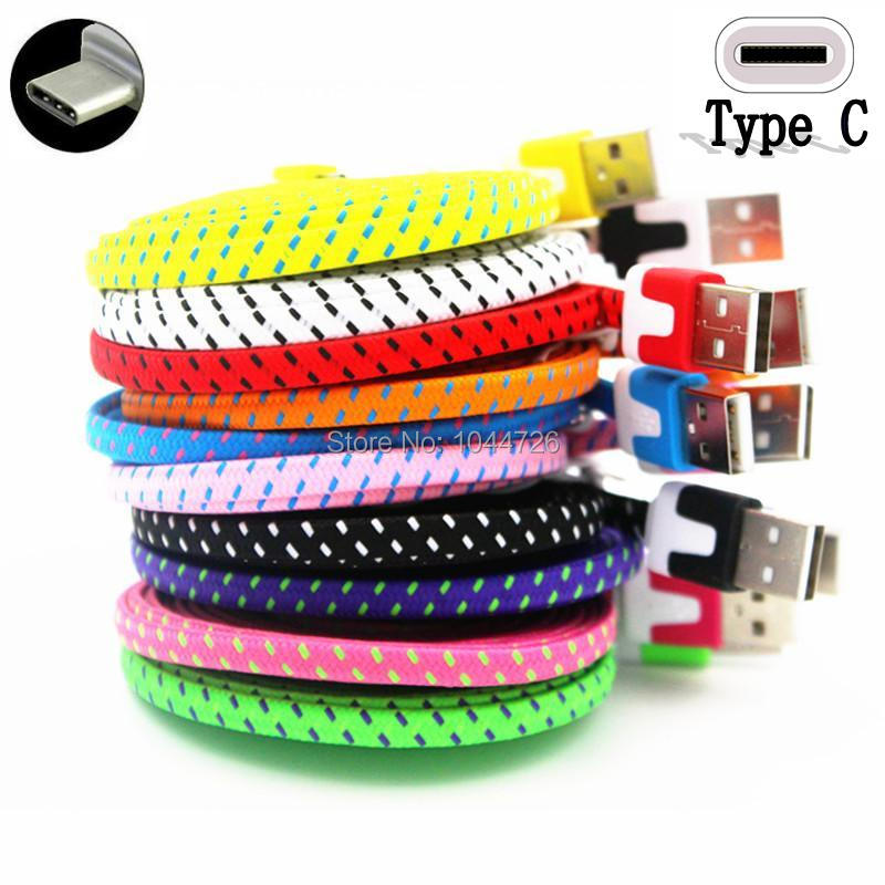 500pcs lot 2m Flat Fabric Braided Type C usb cable Accessory Bundles For Samsung Galaxy s8