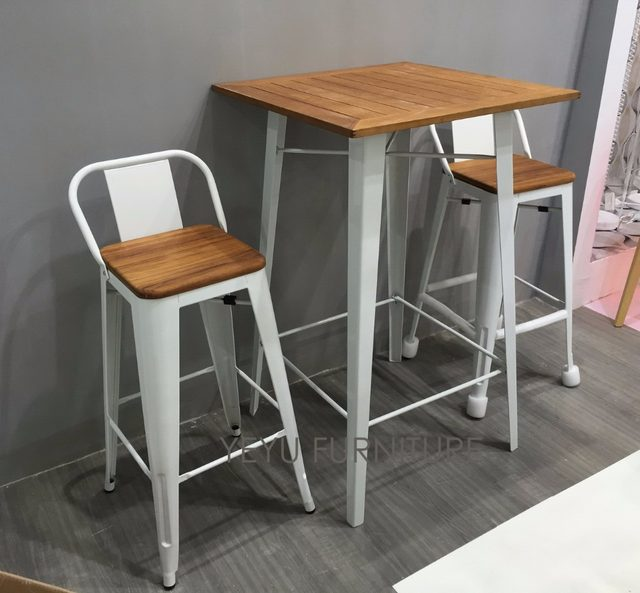Minimalist Modern Design Low Back Outdoor Metal Steel Bar Stool With Teak  Wood Seat Commercial Bar Furniture Set Bar Table