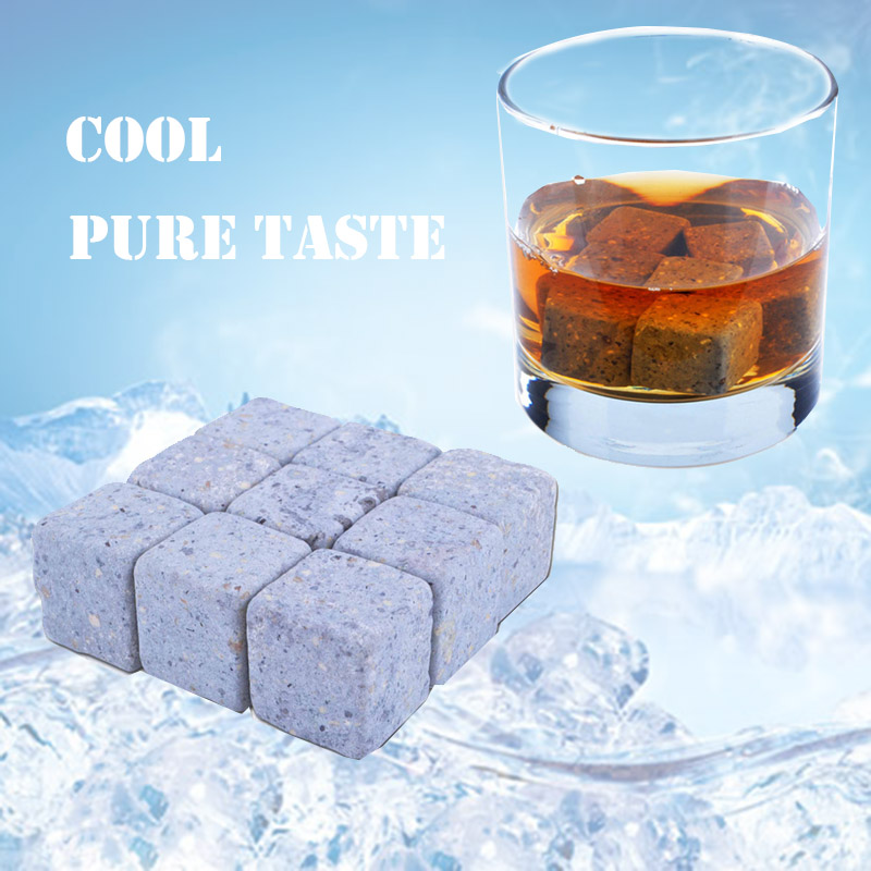 9pcs Per Set 100% Natural Whiskey Stones Set Wine Ice Cube Vodka Stone Whisky Rock Cooler Wedding Gift Favor Christmas Bar