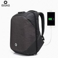 Ozuko Men Backpacks USB Charge Computer Backpack Password Lock 15 6Inch Laptop Bags Casual Three Dimensional