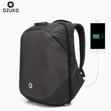 Ozuko Men Backpacks USB Charge Computer Backpack Password Lock 15.6Inch Laptop Bags Casual Three-dimensional Anti-theft Backpack