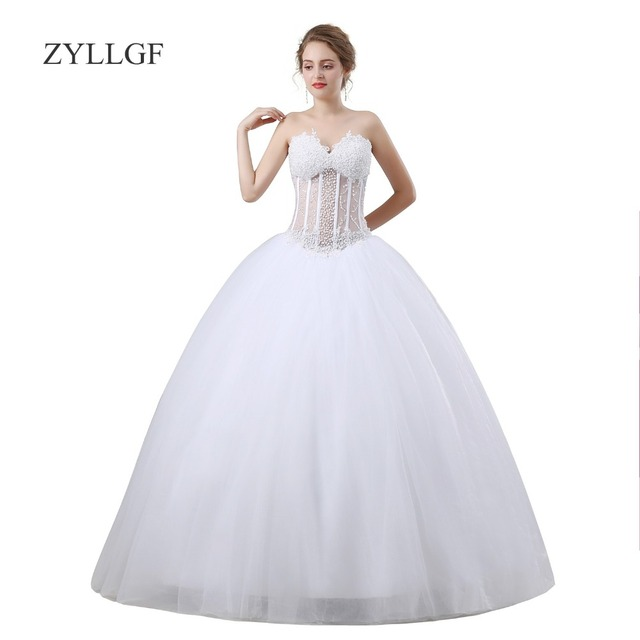 9fbfeb62634 ZYLLGF White Ball Gown 2018 Robe Mariage Sexy See Through Corset Back  Pearls Women Formal Party Dress For Mother MF17