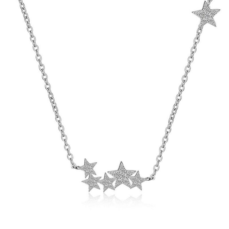 Anenjery 925 Sterling Silver Jewelry Shiny CZ Zirconia Gypsophila Star Pendant Necklace Chain Kolye Collares Bijoux Femme S-N56