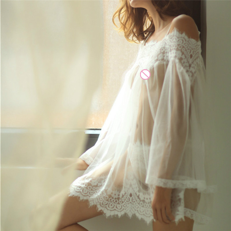 1 Set  Lace Dress Nightwear G-string Transparent Women's Lingerie Sexy Babydoll Sleepwear Underwear