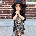 Muchachas Del Verano Del resorte Patrón Vestido de La Borla de Negro Niños Niñas Ropa de Algodón Suave Caliente para 2-8Year Vestido de Madre E Hija