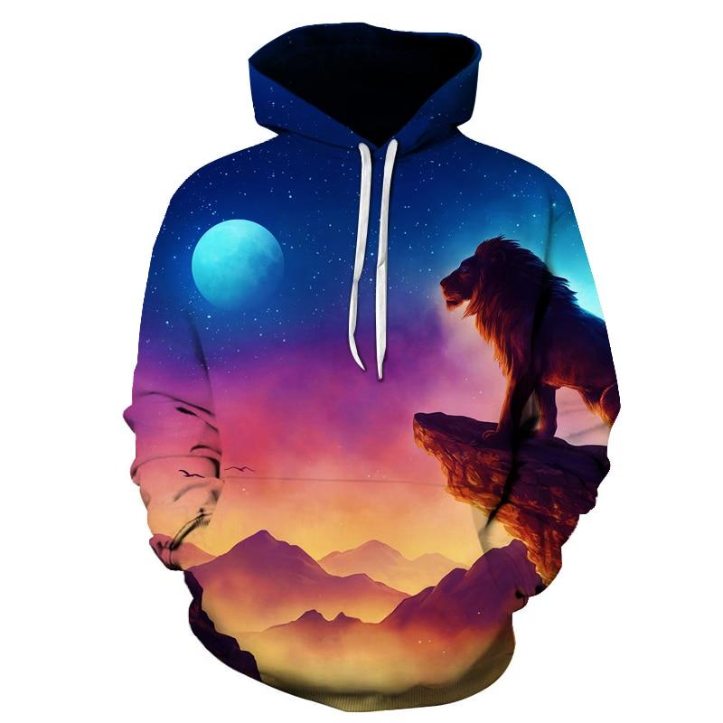 2017 sweatshirt Hoodie Men women Cool creative 3D print colorful Lion moon Galaxy fashion hot Style